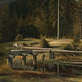 Friedrich Voltz 1817 Nordlingen   Munich 1886 Forest Clearing At A Pond by Friedrich Voltz  Nordlingen