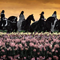 Friesians At Sunset by Wes and Dotty Weber