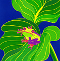 Frog On Leaf by Lucyna A M Green