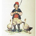 Frolic For Fun Boy And Geese by Reynold Jay