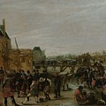 Frolicking On A Frozen Canal In A Town by Hendrick Avercamp