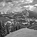 From The Norquay Slopes To The Peak Of Rundle Black And White by Adam Jewell