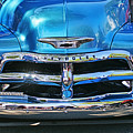 Front End Blue And Chrome Chevy Pick Up by Randy Harris