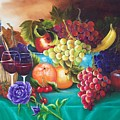 Fruit And Wine On Green Cloth by Joni McPherson