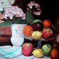 Fruit On Glass Dish II by Marlene Book