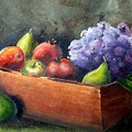 Fruit With Hydrangea by Patricia Caldwell