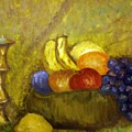 Fruitbowl And Candle by Tammera Malicki-Wong