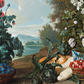 Fruits Flowers And Vegetables In A Landscape by Alexandre-Francois Desportes