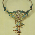 Fuchsia Necklace Alphonse Maria Mucha by Eloisa Mannion