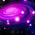 Fuchsia Pink Galaxy, Bright Stars by Sofia Metal Queen