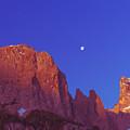 Full Moon At Dawn In The Dolomites by Elizabetha Fox