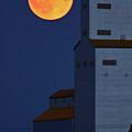 Full Moon Behind Tuxford Grain Elevator by Mark Duffy