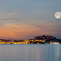 Full Moon Over Calvi Citadel In Balagne Region Of Corsica by Jon Ingall