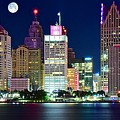 Full Moon Over Detroit by Frozen in Time Fine Art Photography