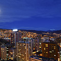 Full Moon Over Downtown La Paz Bolivia by James Brunker