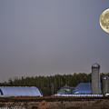 Full Moon Over Farm. by Ron Simpson