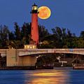 Full Moon Over Jupiter Lighthouse, Florida by Justin Kelefas