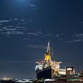 Full Moon Over Queen Mary by David Zanzinger