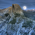 Full Moon Rising Behind Half Dome by Jim And Emily Bush