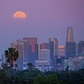 Full Moon Rising Over Downtown Los Angeles Skyline by Konstantin Sutyagin