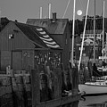 Full Moon Rising Over Motif  Number 1 Rockport Ma Black And White by Toby McGuire