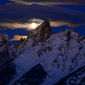 Full Moon Sets Over The Grand Teton by Raymond Salani III