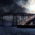 Full Moon Surreal Night At The Bay Area Richmond-san Rafael Bridge - 5d18440 by Wingsdomain Art and Photography