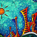 Funky Town Original Madart Painting by Megan Duncanson