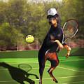 funny pet scene tennis playing Doberman by Regina Femrite