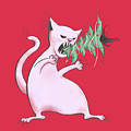 Funny White Cat Eats Christmas Tree by Boriana Giormova