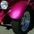 Fuschia Hot Rod Wheel  by Bobbee Rickard