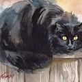 Fuzzy Black Cat by Yuliya Podlinnova
