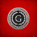 G - Silver Vintage Monogram On Red Leather by Serge Averbukh