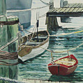 Galveston Boats Watercolor by Judy Loper