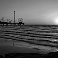 Galveston Sunrise Black And White by Judy Vincent