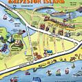 Galveston Texas Cartoon Map by Kevin Middleton