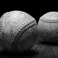 Game Used Baseballs In Black And White by Paul Ward