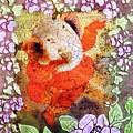Ganesh In Dancing Pose With Floral Backdrop. by Asha Aditi Ruparelia