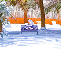 Garden  Bench With Snow by Jeelan Clark