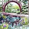 Garden Bridge Over The Pond Watercolor by Irina Sztukowski