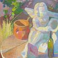 Garden Study With White Angel Figure by Ken Massey