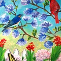 Garden View Birds And Butterfly by Patricia L Davidson
