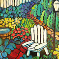 Garden With Lamp By Peggy Johnson by Peggy Johnson