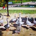 Geese In The Park by Madeleine Prochazka