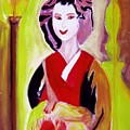 Geisha Girl Portrait Painted With Picasso Style by Stanley Morganstein