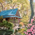 Geisha In A Japanese Garden by Johanna Girard
