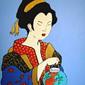 Geisha With Fish by Stephanie Moore