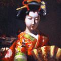 Geisha With Golden Fan by Takayuki Harada