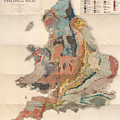 Geological Map Of England And Wales - Historical Relief Map - Antique Map - Historical Atlas by Studio Grafiikka