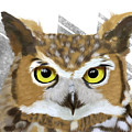 Geometric Great Horned Owl by Tara Appling